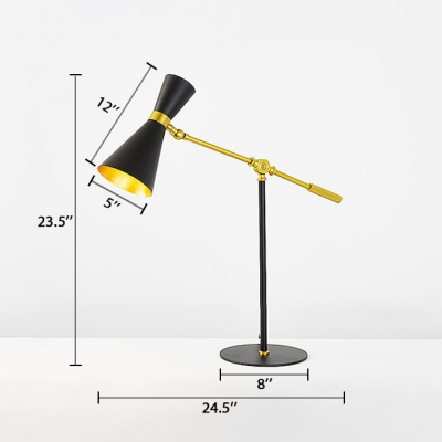 Modernism Hourglass Table Light Metal Single Head Desk Lamp in Black with Boom Arm