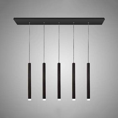 Multi Light Linear Hanging Lamp Contemporary Aluminum LED Lighting Fixture for Restaurant