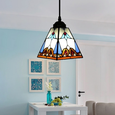 Pure White Square Shape Shade Tiffany Art Glass Style Mini Pendant Light