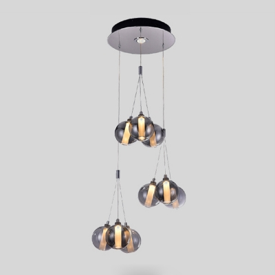 Stainless Cluster Hanging Lamp Contemporary 9 Light Decorative Glass Sphere Drop Light
