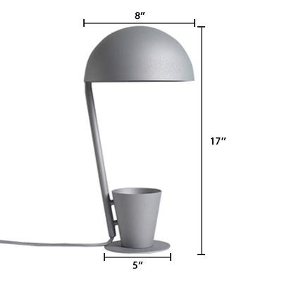 Stylish Modern Cup Desk Light Metal Convenient Desk Lamp with Storage Cup in Gray