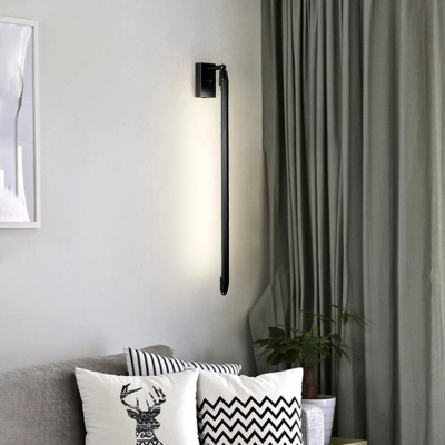 Thin LED Tube Wall Light Minimalist Aluminum Wall Lamp in Black for Living Room