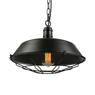Vintage Cage Style 1 Light Pendant with Metal Guard in Black Finish 14'' Wide HL424938 фото