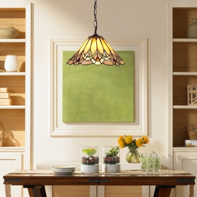 12/14-Inch Wide Conical Shade Ceiling Fixture with Tiffany Vintage Art Glass in Multicolor Finish
