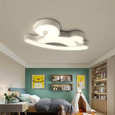 Acrylic Rocking Horse Lighting Fixture Children Bedroom Kindergarten LED Flush Light in Blue/Pink/White