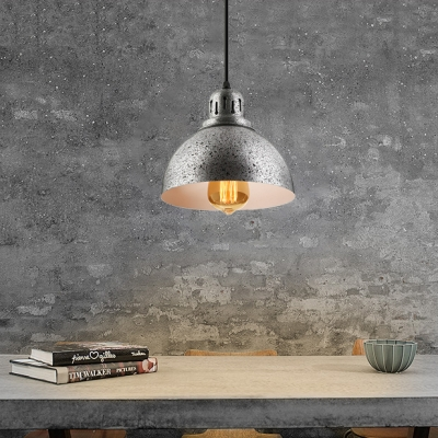 """Antique Pewter Finish and Bowl Shade 8.4""""Wide Mini Pendant Light in Industrial Style"""