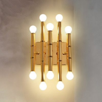Bamboo Shape Wall Light Stylish Designers Style Metal Multi Light LED Wall Sconce in Gold