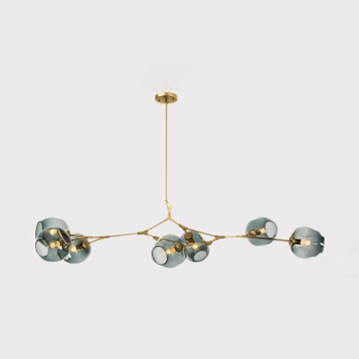 Branching Suspension Light Simple Modern Faded Glass 7 Light Hanging Lamp for Living Room