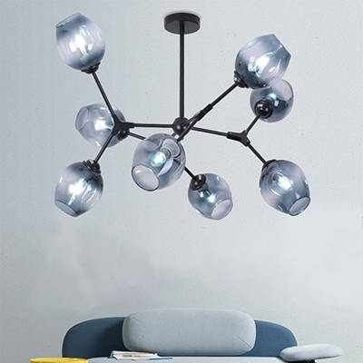 Bubble Ceiling Lamp Stylish Modern Blue Faded Glass 8 Light Lighting Fixture in Black