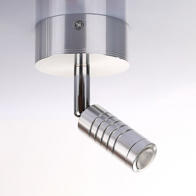 Chrome Finish Tube LED Wall Lamp Contemporary Rotatable Metal 1 Light Wall Light Sconce