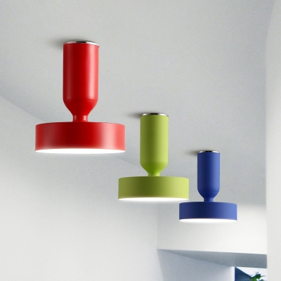 Colorful Simple Cylinder Ceiling Light Metallic Single Head Semi Flush Light Fixtures