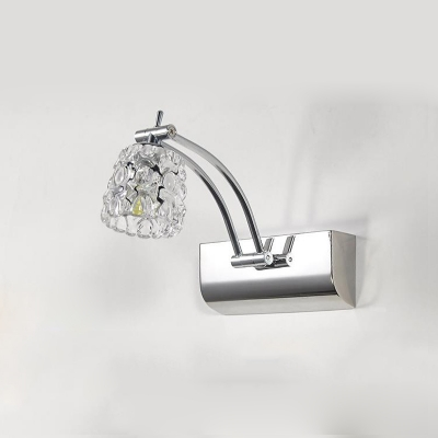 Crystal Swing Arm Vanity Light Contemporary LED Lighting Fixture for Mirror in Chrome