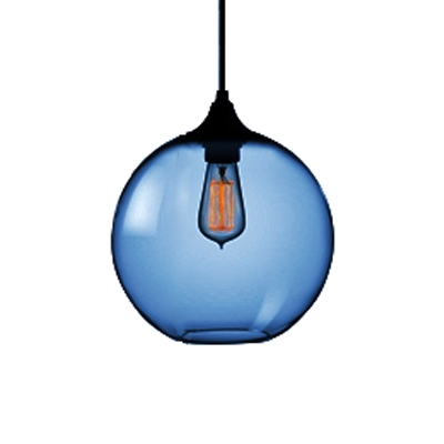 Dark Blue Jug Hanging Lamp Designers Style Glass 1 Head Decorative Suspended Light
