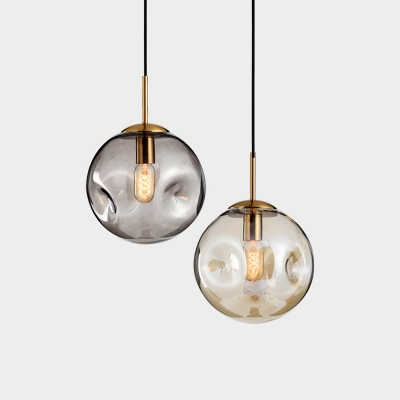 Designers Style Globe Pendant Light Cognac/Smoke Glass 1 Bulb Suspension Light for Bedroom