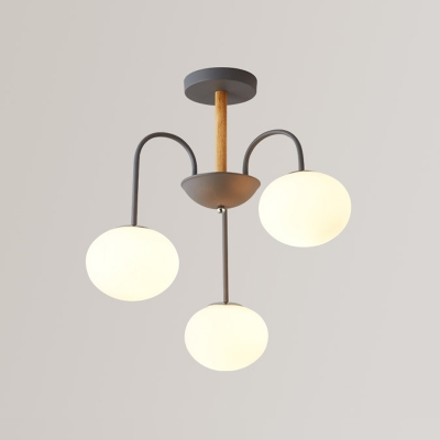 Gray Oval Hanging Lamp Contemporary Milky Glass 3 Lights Suspended Light for Coffee Shop