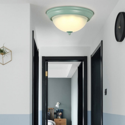 Green/Pink Bowl Shade Flush Mount Contemporary Frosted Glass LED Ceiling Light for Bedroom