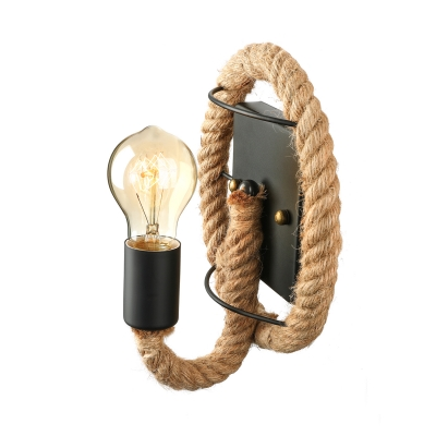 Industrial Style Single Light Rope Wall Light in Black Finish