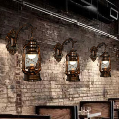 Metallic Lantern Style Wall Light Nautical Style 1 Light Wall Mount Fixture in Antique Copper for Bar