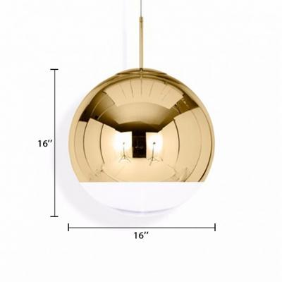 Mirror Ball Pendant Light Modern Fashion Glass Single Light Accent Hanging Lamp in Gold