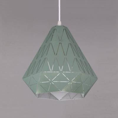 Modernism Diamond Suspended Lamp Metal 1 Light Pendant Light in Green for Sitting Room