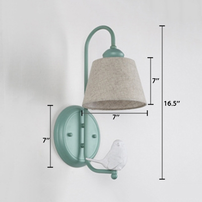 Pink Finish Conical Wall Lamp Lodge Style Metal Single Light Wall Mount Fixture with Angel Baby