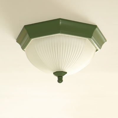 Ribbed Glass Dome Wall Lamp Stylish Simple LED Wall Lighting in Olive for Corridor Hallway