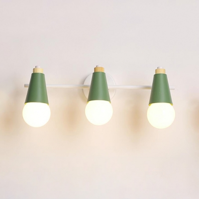 Rotatable Metal Wall Lamp with Cone Green/Yellow Triple Lights Vanity Light for Bathroom Bedroom