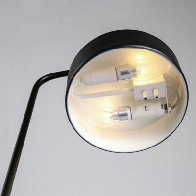 Round Shade LED Table Lamp Simple Modern Steel Rotatable Desk Light in Black for Office