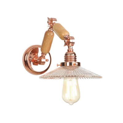 Scalloped Wall Mount Fixture Industrial Glass Shade 1 Light Wall Light in Rose Gold with Swing Arm