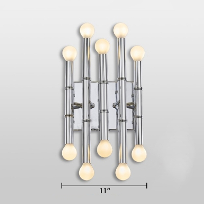 Silver Bamboo Shape Wall Sconce Stylish Designers Style Metal Multi Light LED Wall Lamp