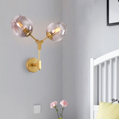 Smoke Glass Bubble LED Wall Sconce Designers Style 2 Light Wall Light for Corridor