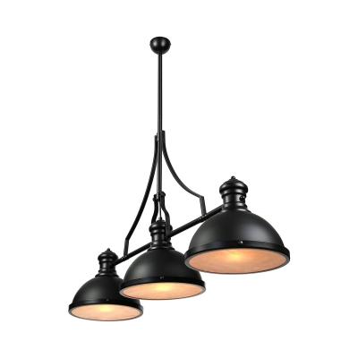 Three-Light Pool Table Light LED Linear Island Pendant in Black Finish