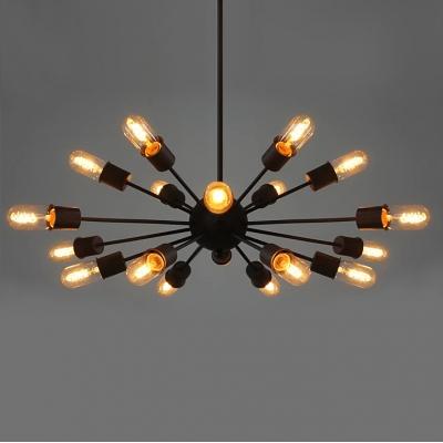 Vintage Black 18 Light Sputnik LED Pendant Light for Living Room Restaurant Bar