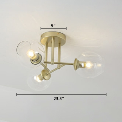 Vintage Crossed Lines Semi Flush Light Clear Glass 3 Light Ceiling Light in Gold