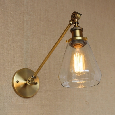 Vintage Swing Arm Wall Sconce With Cone