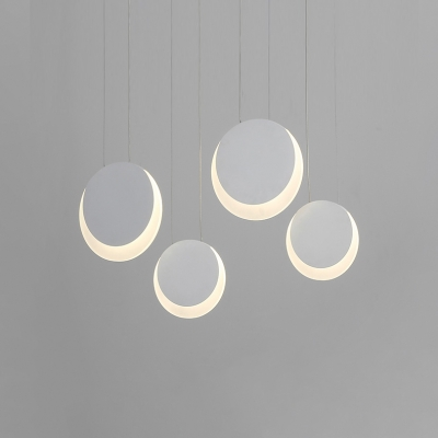 White Finish Round Indoor Lighting Fixture Concise Modern Metal 3/4/5 Heads Ceiling Pendant Lamp