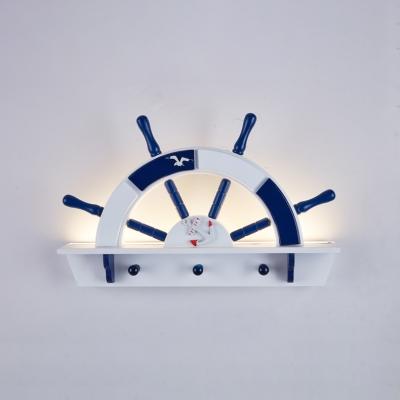 Wood Wall Mount Light with Round Rudder Dark Blue LED Lighting Fixture for Nursing Room