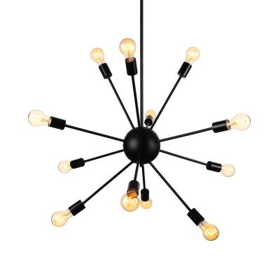 12 Light Industrial Style Spectrum Metal Indoor LED Chandelier