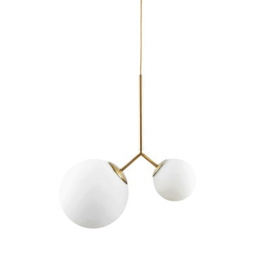 2 Heads Modo Chandelier Light Contemporary Frosted Glass Hanging Lamp in Brass Finish