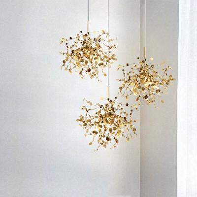 3-Light Sputnik Suspended Light Contemporary Stainless Steel LED Drop Light for Living Room