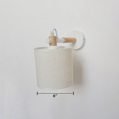 Armed Wall Lamp with Cylinder Fabric Shade Industrial 1 Bulb Small Wall Mount Light in White