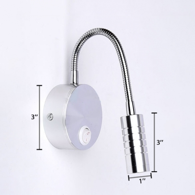 Chrome Finish Adjustable Arm Sconce Lighting Simple Concise Metal 1 Head LED Wall Mount Light