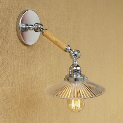 Chrome Finish Scalloped Wall Lamp Modernism Clear Glass 1 Head Wall Mount Light for Foyer