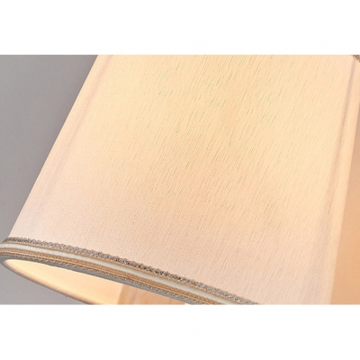 Chrome Finish Tapered Wall Sconce Vintage Gathered Fabric Shade Single Light Wall Mount Light