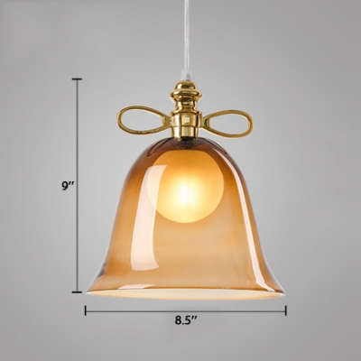 Contemporary Bell Pendant Lamp Glass Single Head Drop Ceiling Lighting in Cognac/Green/Red