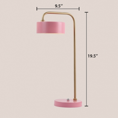 Drum Desk Lamp Colorful Simple Modern Metal Push Switch Table Lamp for Children Room