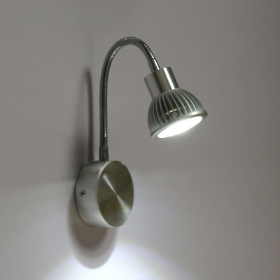Flexible Hose Neck Spotlight Contemporary Metal 1 Head LED Wall Lamp in Warm/White