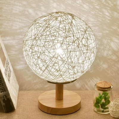 Globe Table Light Modern Fashion Weave Desk Lamp with Wood Base in White for Bedside