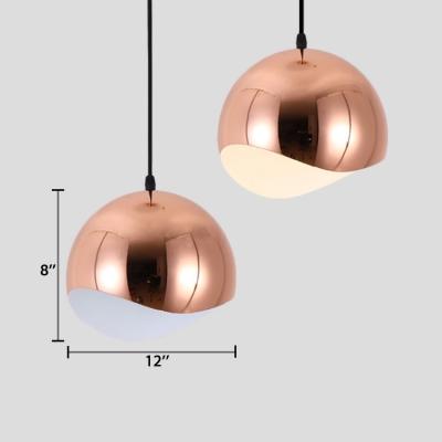 Half Round Suspended Light Simple Modern Metal Drop Light in Rose Gold for Hallway