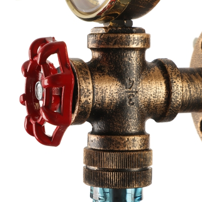 Industrial Wall Sconce LOFT Retro Vintage with Watermeter and Valve Decorative Pipe Fixture, Colorful Glass Shade